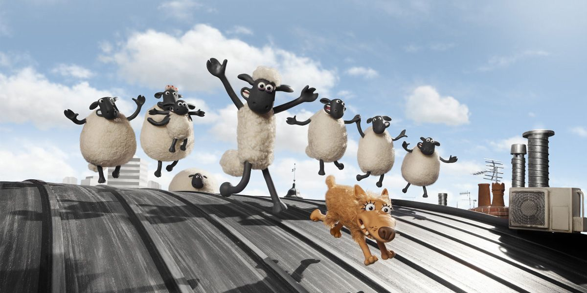 Shaun the sheep running on a rooftop followed by other sheep.