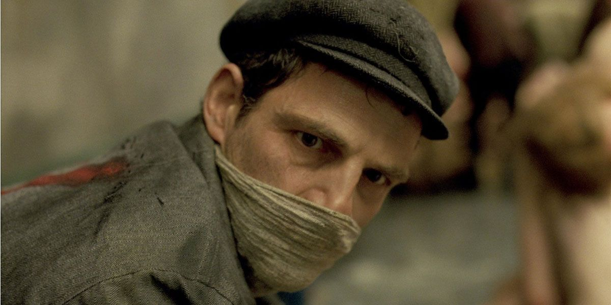 Saul Ausländer stares from behind a mask in the Oscar winning Son of Saul