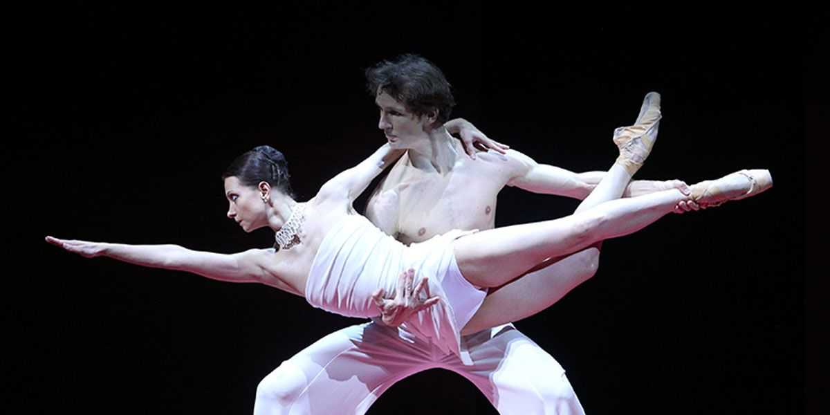 A pose from two dancers in the Bolshoi Ballet: A Contemporary Evening new production