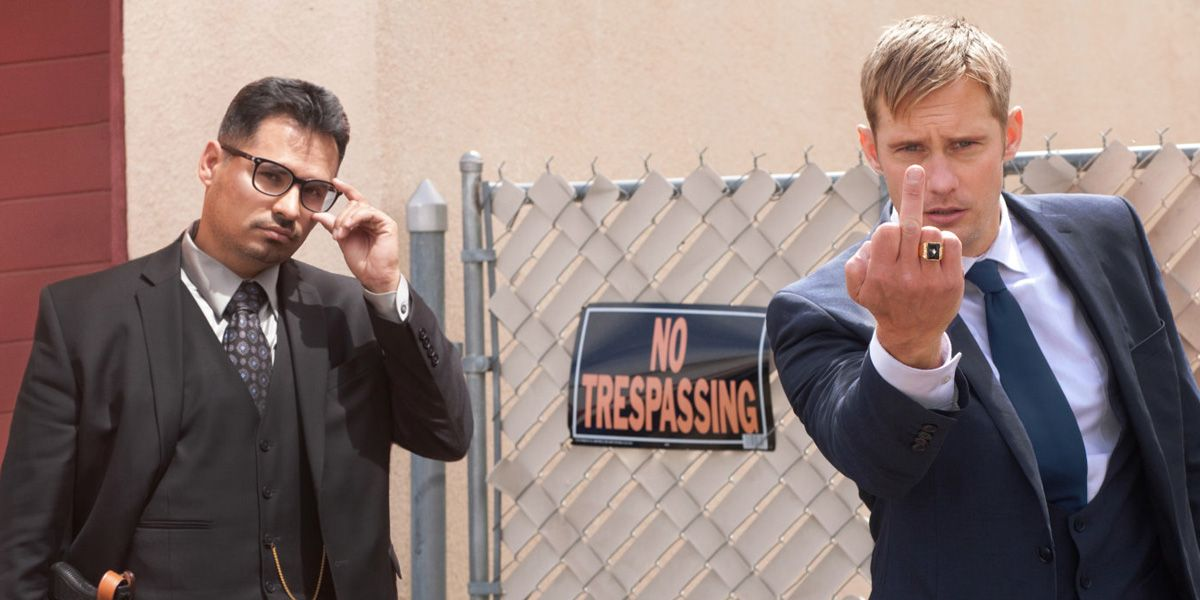 Alexander Skarsgård and Michael Peña in War on Everyone
