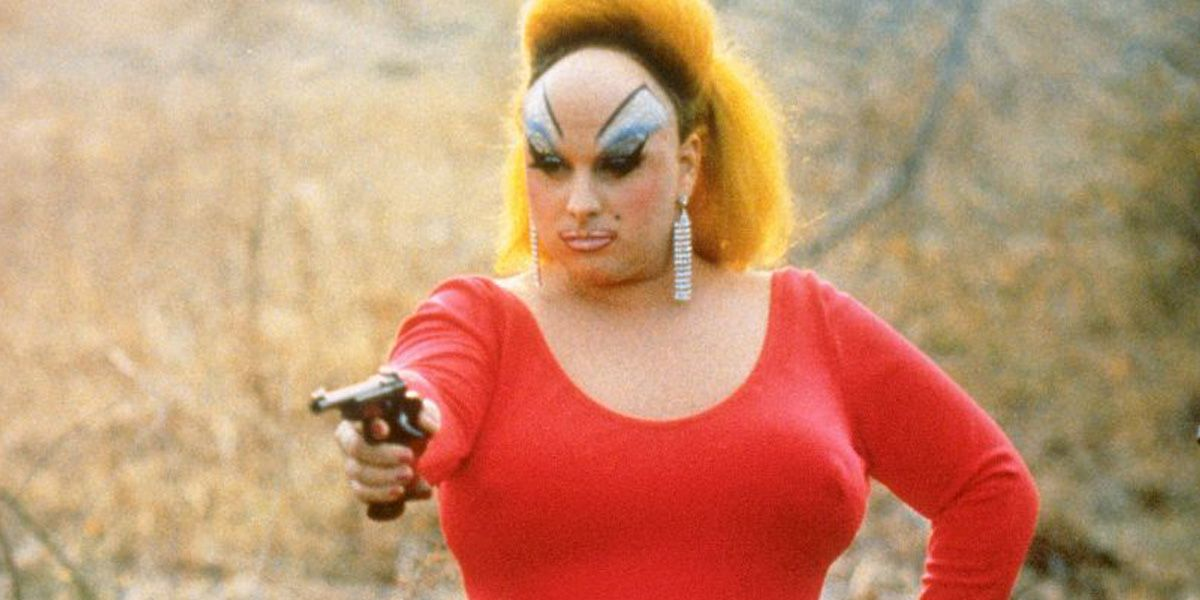 Divine points her gun in John Water's notorious Pink Flamingos