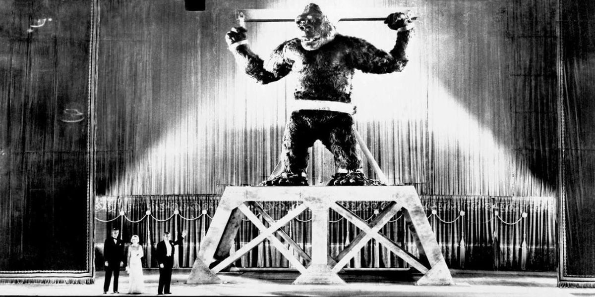 King Kong on 35mm sees the great ape chained up on stage