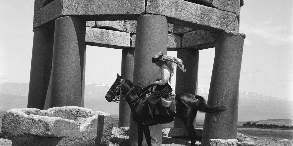 Gertrude Bell astride a horse in Letters from Baghdad