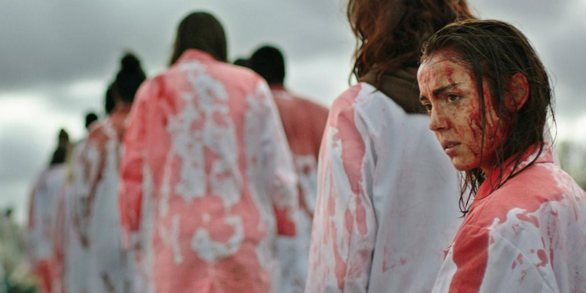 A young veterinarian stands covered in blood in Raw