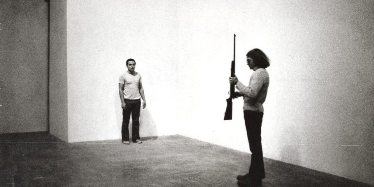 Artist Chris Burden performs his work SHOOT