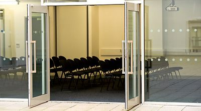 A view of a meeting room from outside