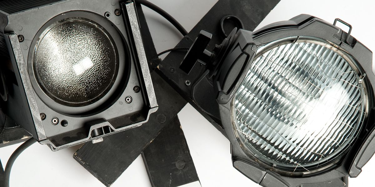 A picture of two theatre lights