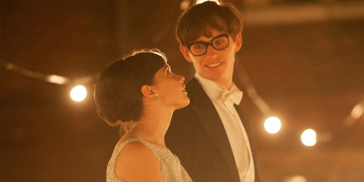 Stephen and Jane Hawking stand surrounded by lights