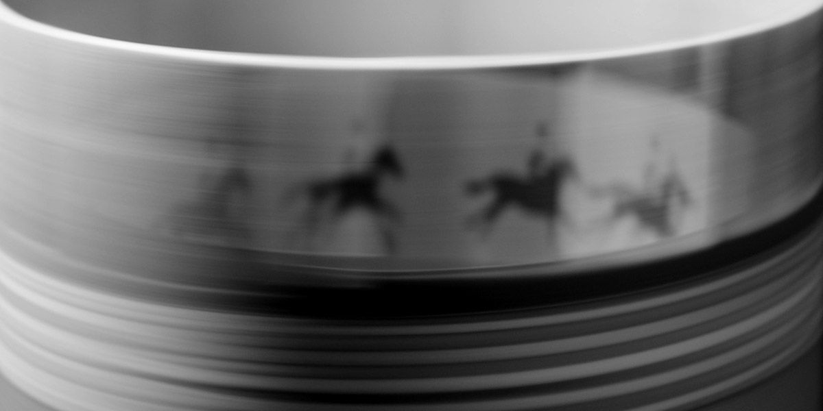 A zoetrope animation of a horse running