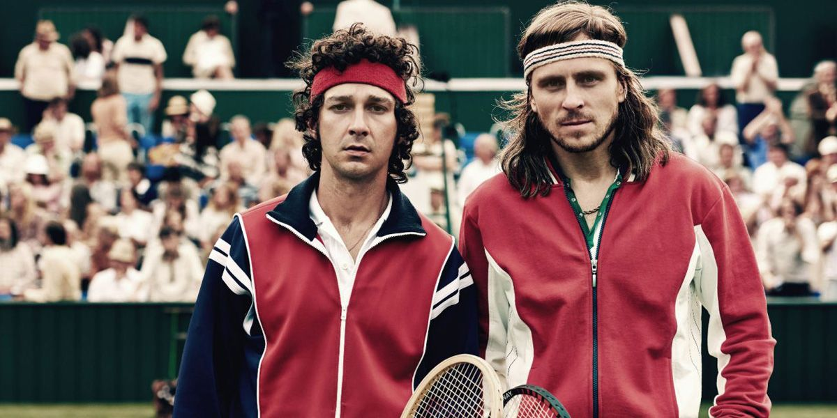 Shia LaBeouf and Sverrir Gudnason in Borg Vs McEnroe