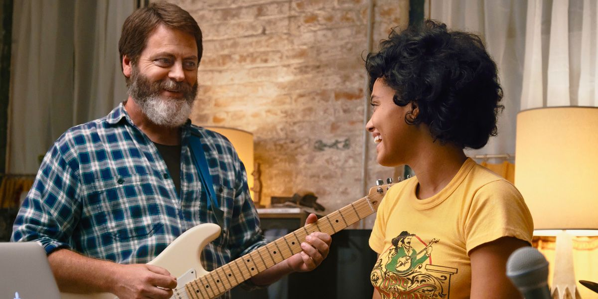 Nick Offerman and Kiersey Clemons in Hearts Beat Loud.