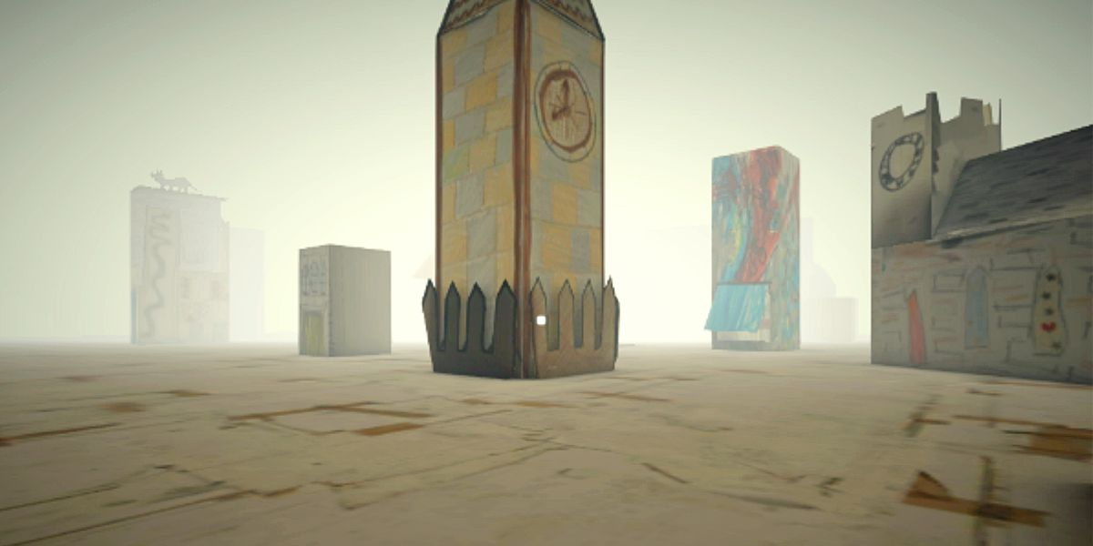A VR landscape with buildings