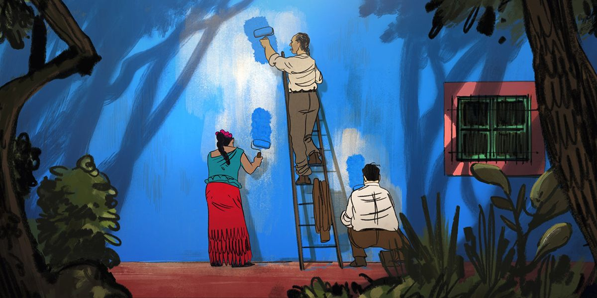 Illustration of three people painting a wall blue from the film Josep.