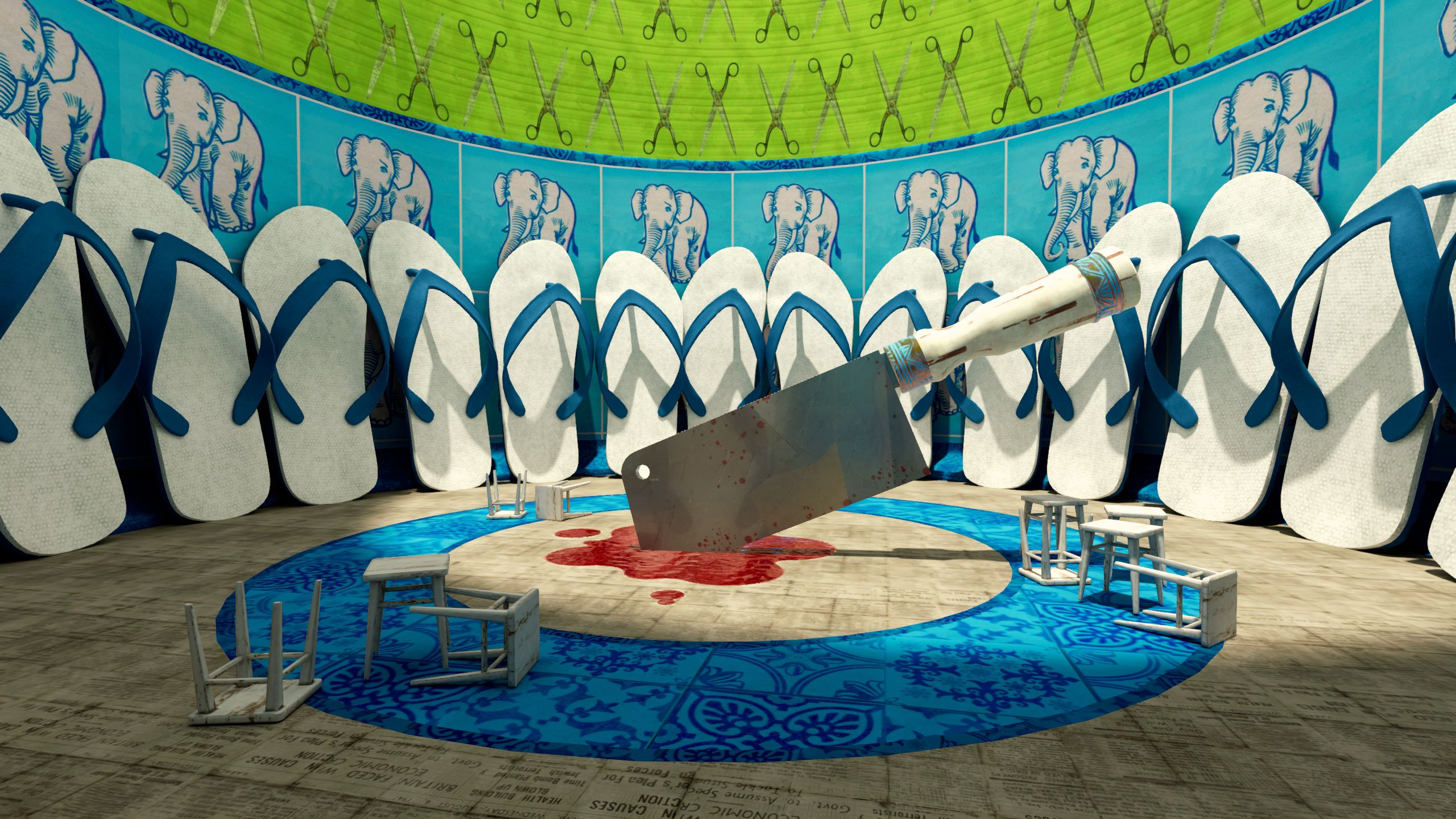 A cleaver is emedded into the floor of a colourful, circular interior surrounded by giant flip flops