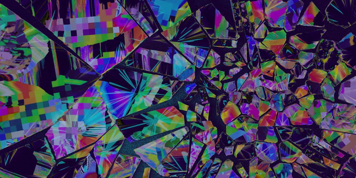 A shattered screen with multi-coloured shapes and patterns covering the shards