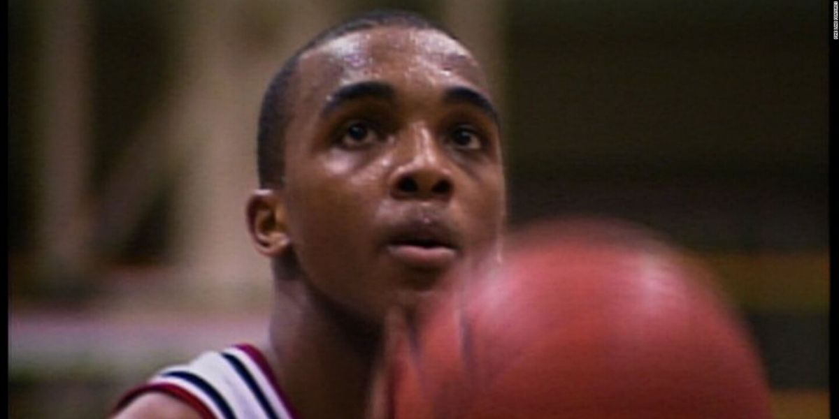 An image of a basketball player from the film Hoop Dreams