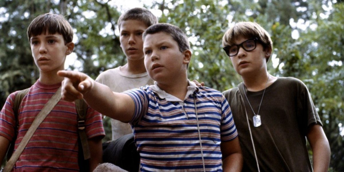 A medium shot of a group of young boys from the film Stand By Me