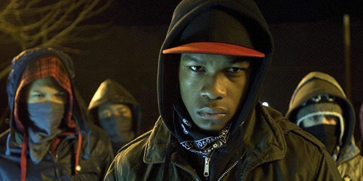 A close up of a group of teenagers, from the film Attack the Block