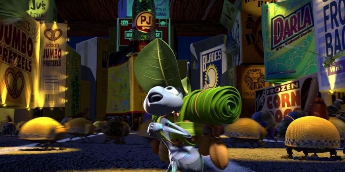An establishing shot of Flik from the animated film A Bug's Life