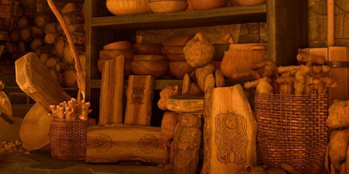 An establishing shot of a collection of wood carvings from the animated film Brave