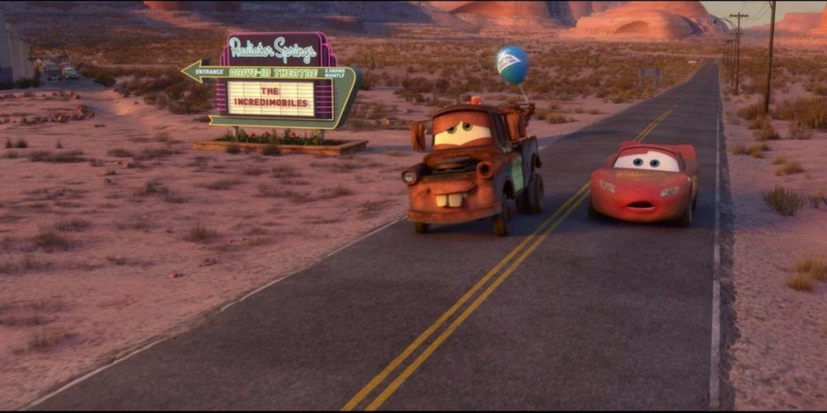 Long shot of Mater and Lightning McQueen driving in films Cars 2
