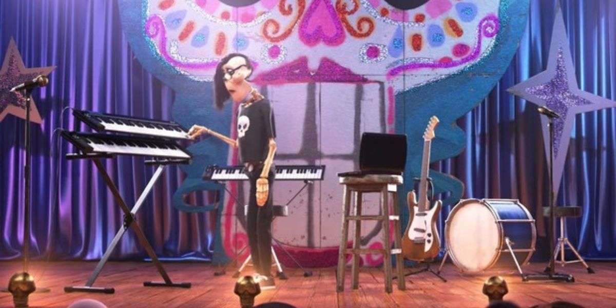 A long shot of a skeleton playing the keyboard in a scene from animated film Coco