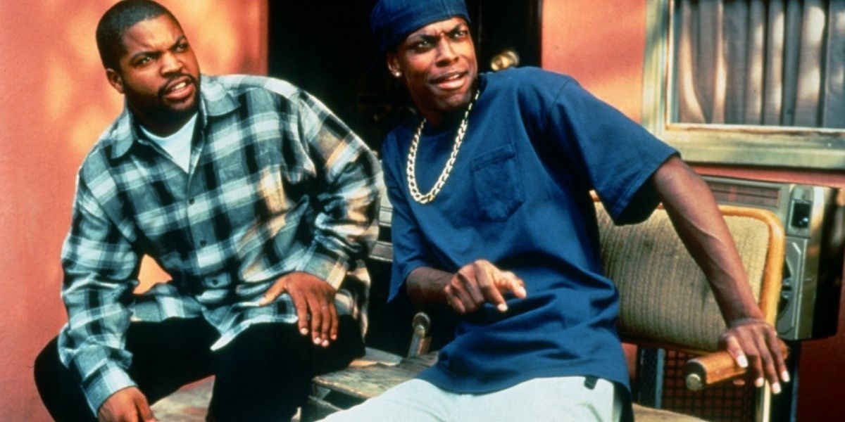 Ice Cube and Chris Tucker look surprised in this still image from the film Friday