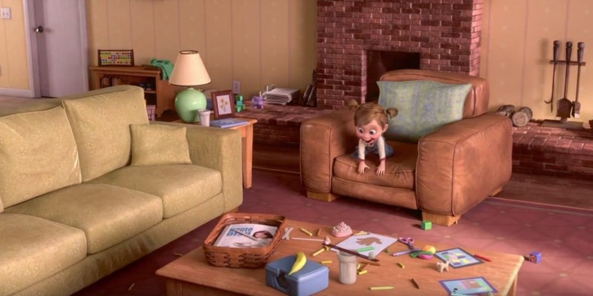 An establishing shot of a young girl jumping round on an armchair from the animated film Inside Out