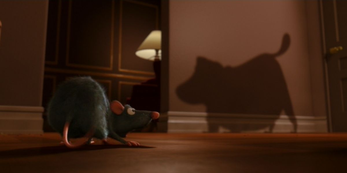 An establishing shot of a rat on high alert when spotting the shadow of a dog in the animated film Ratatouille