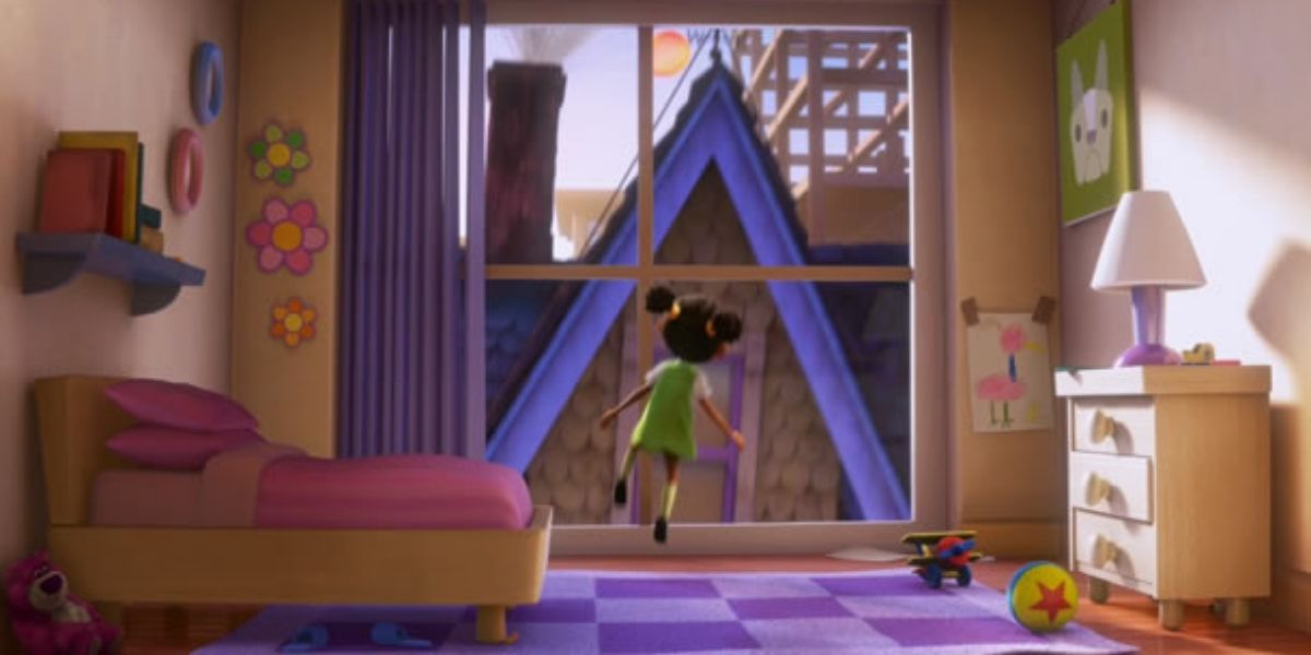 An establishing shot of a young girl looking out of her window in the animated film Up