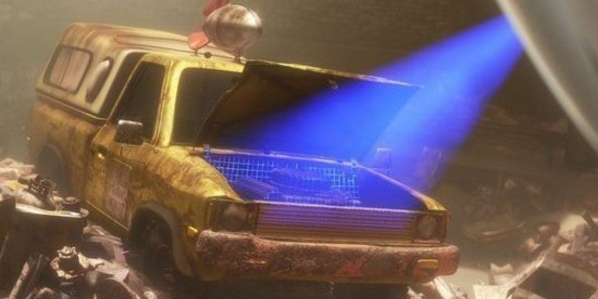 An establishing shot of a pizza planet truck from the animated film Wall-E