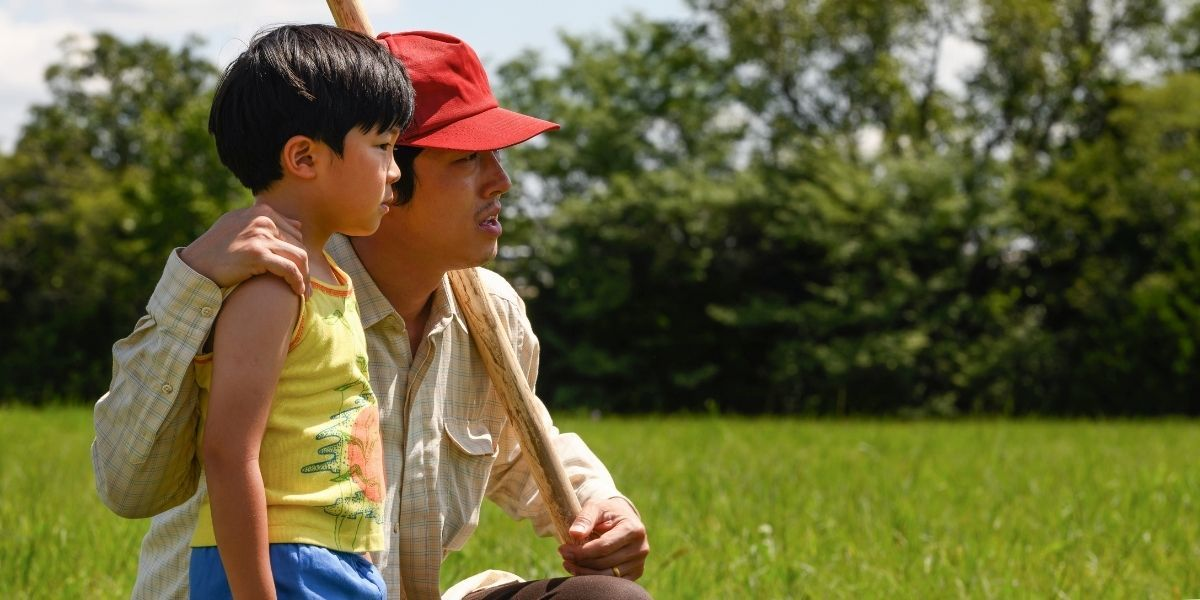 A medium shot of a young boy and his father from the Oscar-nominated film Minari