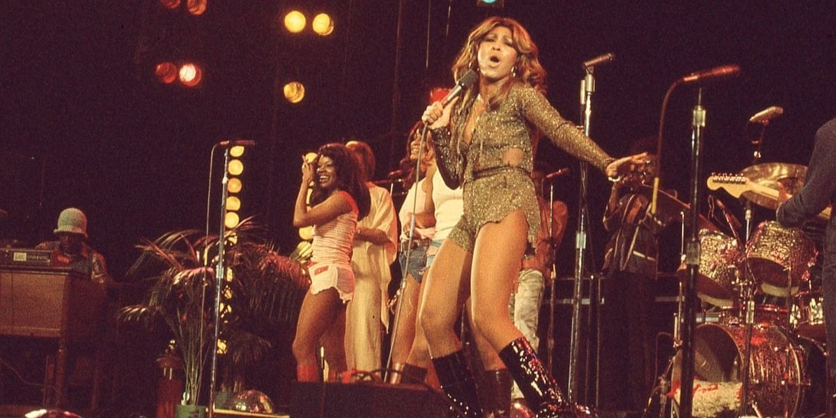 An image of singer Tina Turner performing on stage, from the documentary film Tina