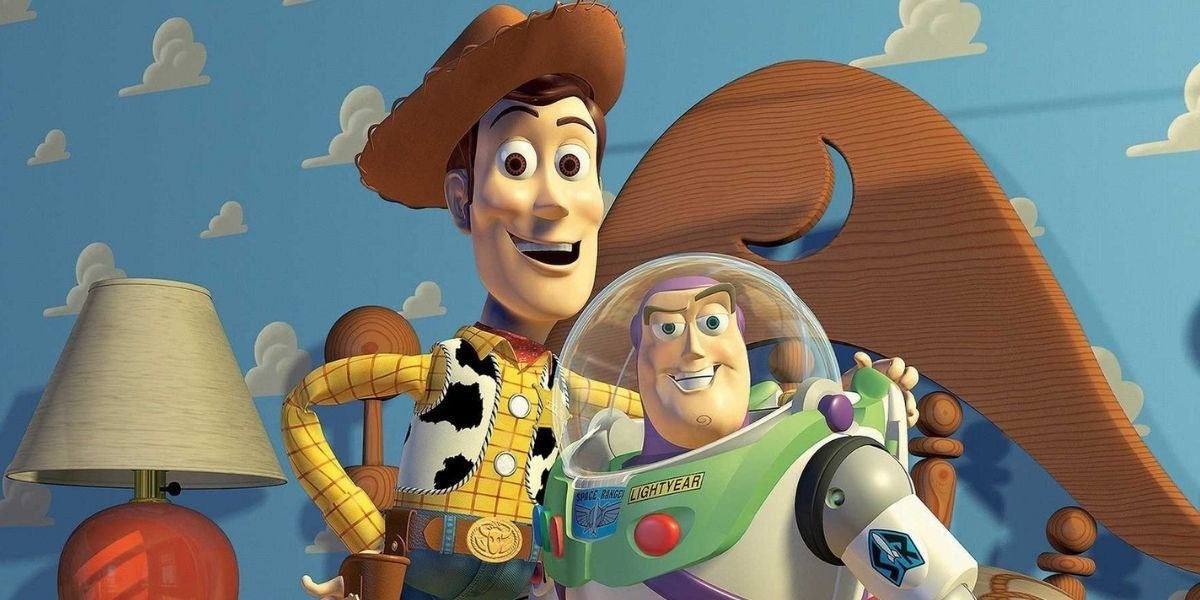 A medium shot of Woody and Buzz Lightyear from Pixar's 1995 film Toy Story