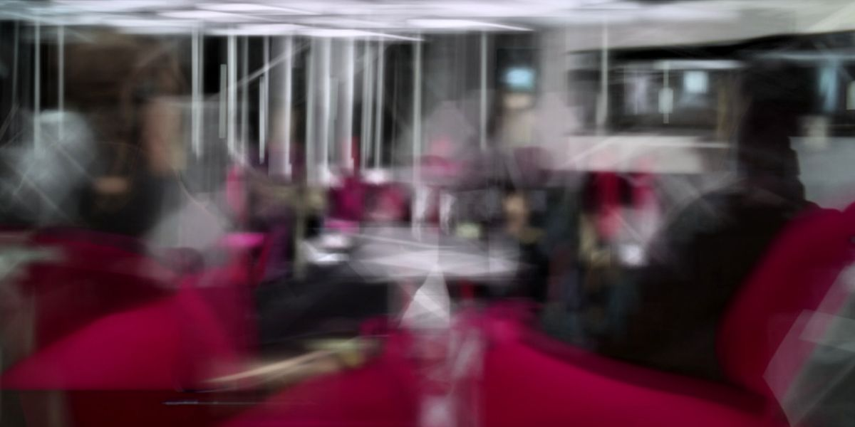 Blurred images of people sat in a futuristic bar in a still from Watching by Ben Bogart