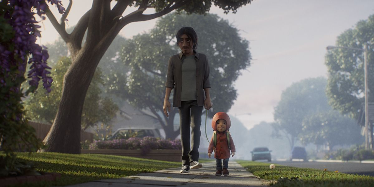An establishing shot of a young boy walking with his father from the animated short film Float