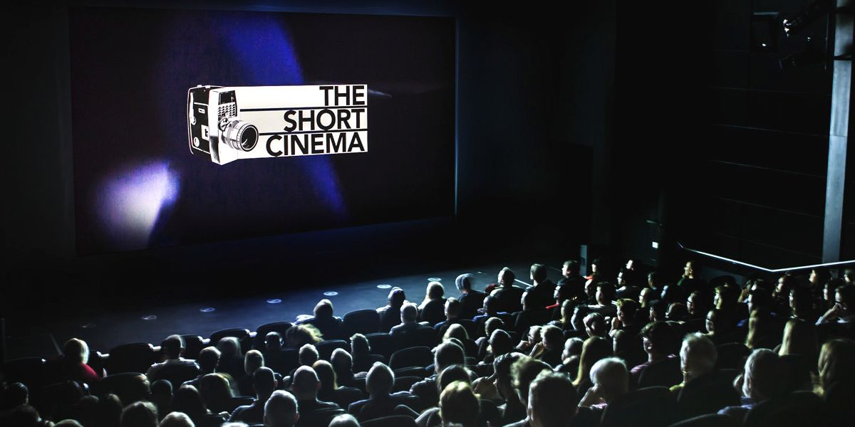 An audience in a cinema screen, with a Short Cinema logo on-screen