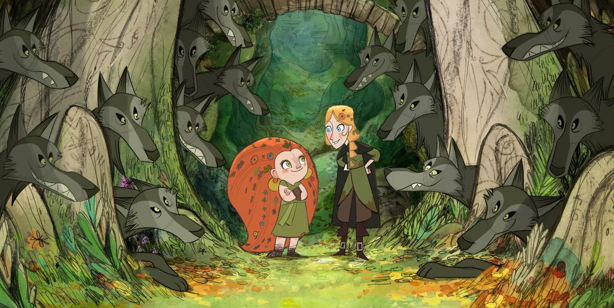 An establishing shot of two young girls in a forest, from the animated film Wolfwalkers
