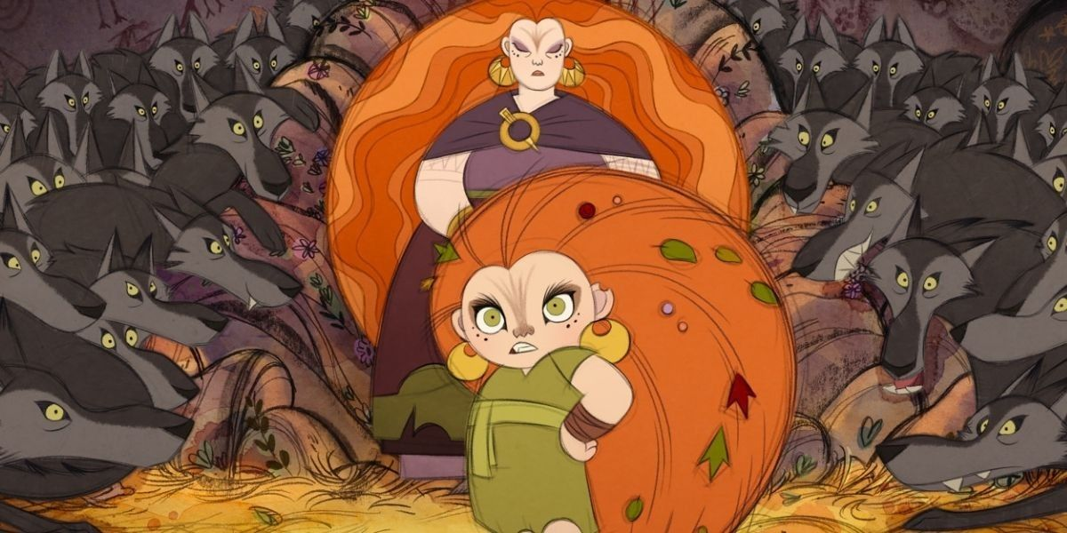 An animated shot of a young girl and her mother from the film Wolfwalkers