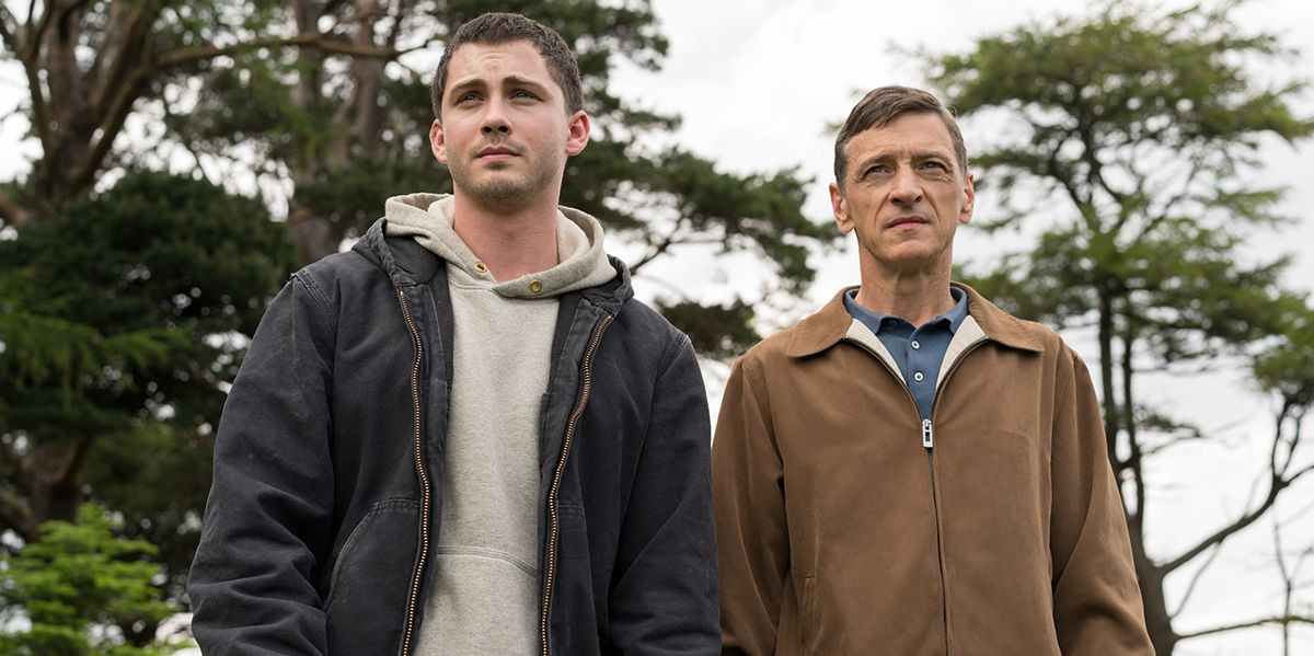 Image from the film End of Sentence, father and son, Frank and Sean, stand side by side against the backdrop of nature