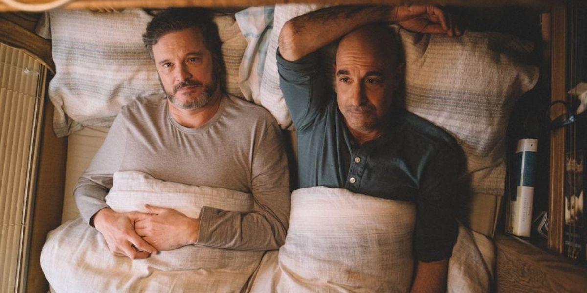 A medium shot of Stanley Tucci and Colin Firth from the film Supernova