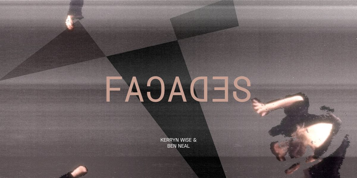a distorted image with graey angular shapes and the word Facades in the centre