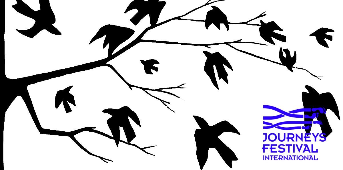 Black silhouettes of birds on tree branches