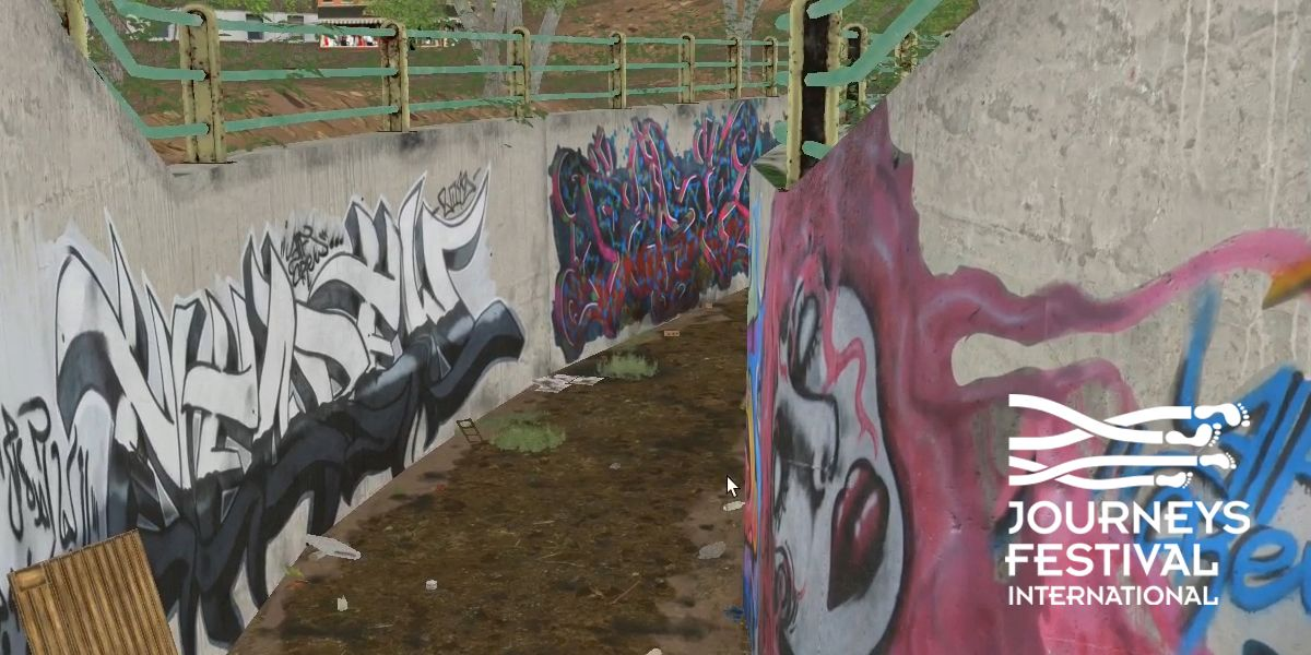A computer generated recreation of concrete walls covered in graffiti