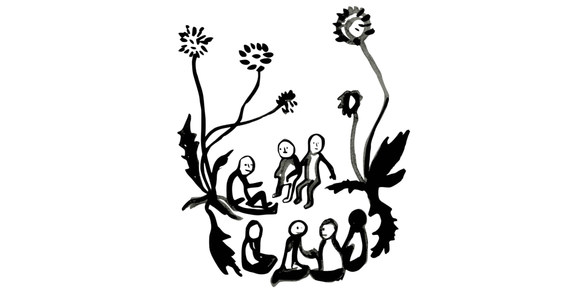 Ink drawing of several tiny people sat in a circle between dandelions