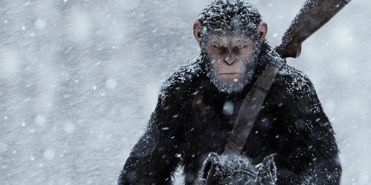 Caesar the Ape rides a horse in War for the Planet of the Apes