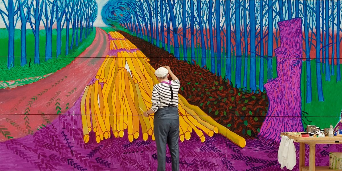David Hockney at work during Exhibition on Screen