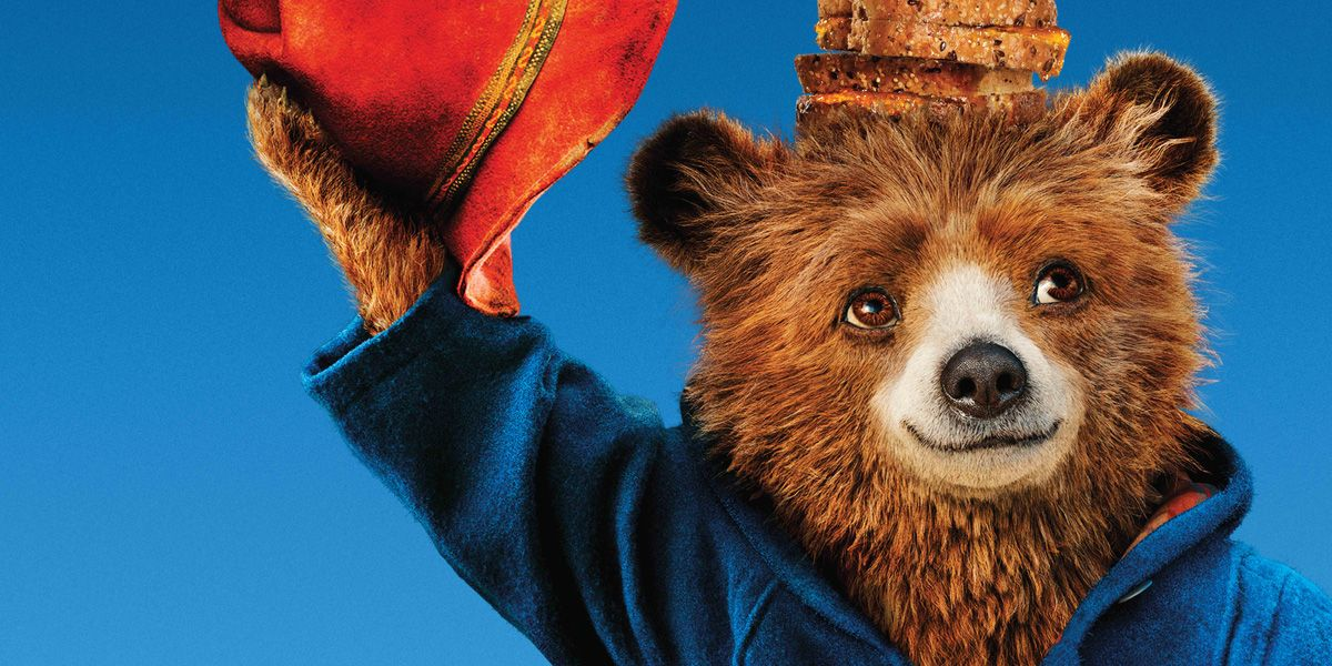 Paddington Bear with a marmalade sandwich on his head in Paddington 2
