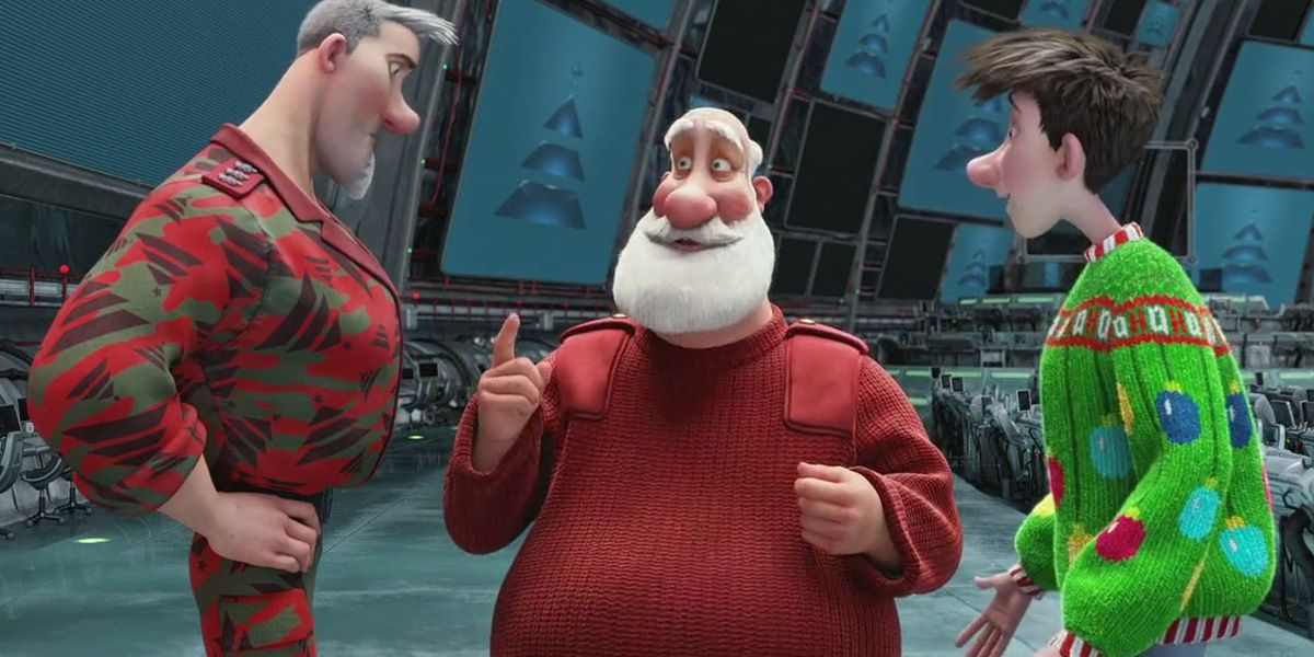 Steve, Santa and Arthur talking in Arthur Christmas