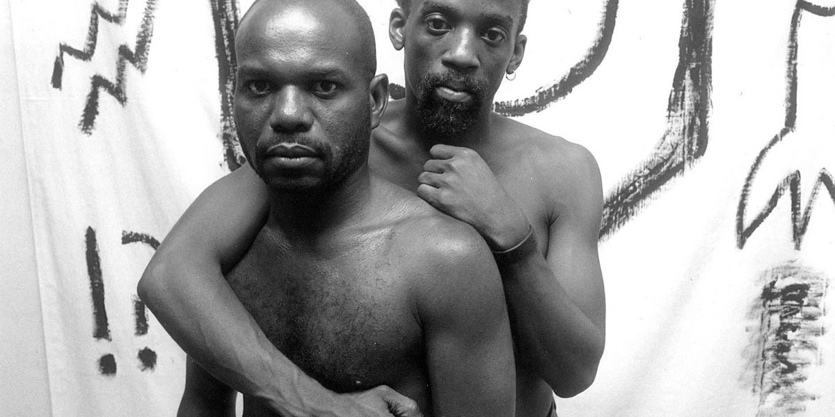 Marlon Riggs and his lover embracing in Tongues Untied DMU Pride